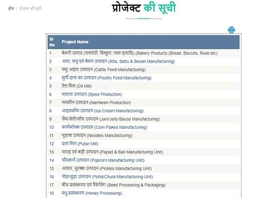 udyami yojana project list